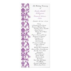 Radiant Orchid Damask Wedding Program  This elegant wedding program is perfect for any ceremony! Featuring a white background accented with a radiant orchid damask border the design is the same on the back with an area to insert a picture of the bride and groom that looks as if it is being held on by the damask border. This design can be done in any color use wish! Simply message me with your color choice!