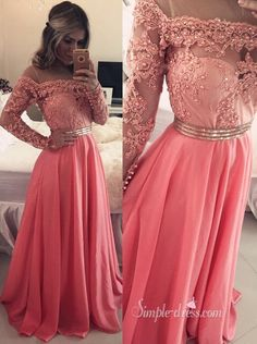 2016 long prom dresses, lace long sleeves prom dresses, coral long chiffon prom dresses