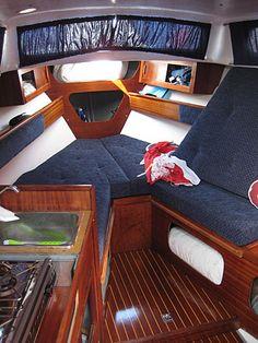 Sailboat Decor, Sailboat Interior, Sailboat Living, Yacht Interior, Interior Design, Wooden Model Boats, Wood Boats, Cuddy Cabin Boat, E Motor