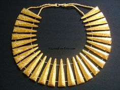 LES BERNARD INC Gorgeously Glowing Yellow Gold Plated Fancy Sculptured Pyramid Spike Designs Linked Panel Big Bold Cleopatra Runway Necklace
