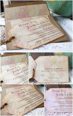 Destination Wedding Invitation | Vintage World Map, Compass, Shipping tags | Sunshine and Ravioli