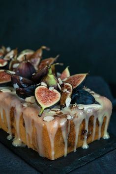Fig Almond Tea Cake with Coconut Honey Glaze
