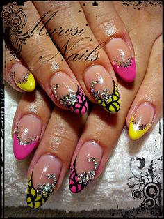 Pink and yellow nail with abstract painting and stones...