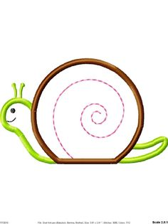 Snail Machine Embroidery Applique Design 2 by SimplySweetEmbroider