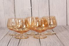 Vintage bar goblet glasses Small whiskey glasses Vintage barware Brandy glasses set of 5 glasses Caramel colored glasses Vintage goblet