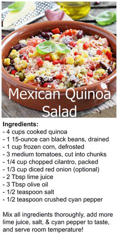 SIMPLE quinoa recipe you can do all sorts of things with.  Add shrimp or chicken, throw on a bed of lettuce, or serve as a side dish!  YUMMY!