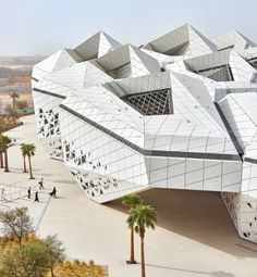 Hexagonal pods interlock like honeycomb to form the King Abdullah Petroleum Studies and Research Centre, built by Zaha Hadid Architects in the Saudi Arabian capital Riyadh. Zaha Hadid Architecture, Architecture Durable, Futuristic Architecture, Sustainable Architecture, Contemporary Architecture, Amazing Architecture, Architecture Details, Interior Architecture, Museum Architecture