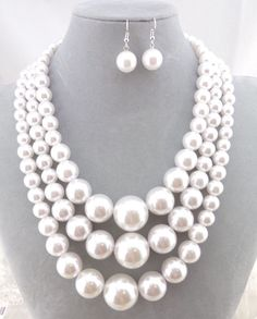 Three Layer White Pearl Necklace Earrings Set Silver Fashion Jewelry NEW #SophiaCollection