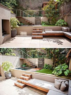 13 Multi-Level Backyards To Get You Inspired For A Summer Backyard Makeover // This yard may be small but the multiple levels make it feel larger. im garten naturstein 13 Multi-Level Yards To Get You Inspired For Backyard Makeover! Small Backyard Landscaping, Backyard Patio, Landscaping Ideas, Terraced Backyard, Modern Backyard, Small Patio, Sloped Backyard, Garden Landscaping, Desert Backyard
