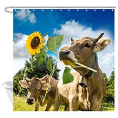 $19.86 NYMB Vintage Sunflower Western Cow Shower Curtain | vintage bathroom | vintage bathroom ideas | #vintage