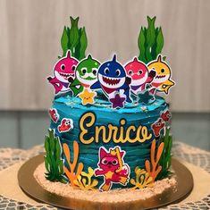 60 Ideias para Festa Baby Shark Shark Birthday Cakes, 2nd Birthday Party For Girl, Birthday Party Themes, Shark Cupcakes, Shark Cake, Bolo Picnic, Shark Party, Cakes For Boys, 1st Birthdays