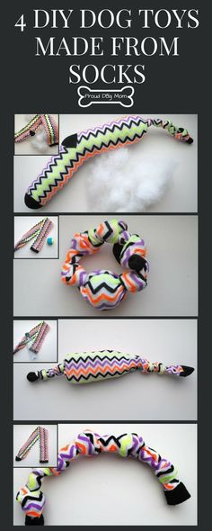 Do you have any old socks lying around that you haven't worn in years? Instead of tossing them out, make these four easy, no-sew DIY dog toys! toys No-Sew DIY Dog Toys: 4 Ways To Turn Old Socks Into Puppy Play Homemade Dog Toys, Diy Dog Toys, Best Dog Toys, Diy Animal Toys, Diy Pet, Diy Dog Costumes, Dog Socks, Sock Toys, Puppy Play