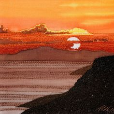 Sunset by Alison Holt - silk painting and free motion machine embroidered landscape art picture. Art Textile, Textile Artists, Thread Painting, Silk Painting, Landscape Art Quilts, Freehand Machine Embroidery, Fabric Postcards, Fabric Pictures, Textiles