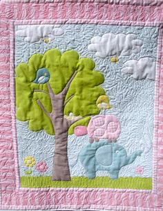 Effie Elephant and Friends Baby Quilt (85.00 USD) by onebeelane