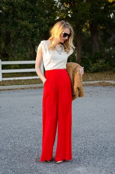 Ruffled Perfection | Red Wide Leg Pant