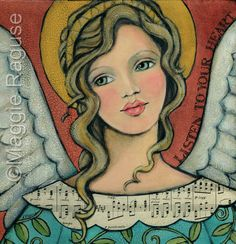 LISTEN to your HEART mounted PRINT of folk art angel painting by Maggie Raguse. $18.00, via Etsy.