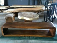 reclaimed acacia wood solid slab console table
