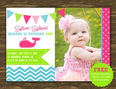 Preppy Whale Girl Birthday Invitation  Printable  by SweetGumdrop, $14.50