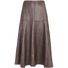 Halston Heritage Taupe leather midi skirt ($1,005) ❤ liked on Polyvore featuring skirts, flare skirt, knee length flared skirts, leather flare skirt, flared midi skirt and brown midi skirt