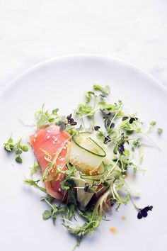 SASHIMI, MICROGREEN & CUCUMBER SALAD with CITRUS SOY SAUCE DRESSING ~~~ this recipe's construct uses salmon, but any sashimi of your liking would be delicious (scallop, tuna, red snapper, etc). [Japan, Modern] [upcloseandtasty]