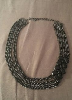 Black jewel and chain necklace
