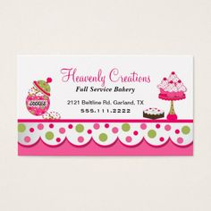 Sweet treats whimsical pink chalkboard pastries bakery business cute pink and green bakery business card fbccfo Images