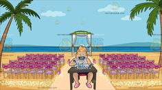 A Man Eating A Plate Full Of Facebook Likes At A Beach Wedding Ceremony Venue:  A chubby man with blonde hair wearing a white sleeveless tank top dark blue short pink slippers sitting on a red chair behind a brown desk messily munching on plate full of Facebook like symbols . Set in a beach wedding venue with purple chairs accented with pink ribbons a wedding arch with green roof and white curtain petals scattered on the fine beige sand and two palm trees complete the charming scenery.