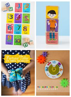 Free Printables to support learning a new language with your children.  Options include 14 different languages with printables about clothing, numbers, animals and transportation from Gus on the Go! Helps to support their App in a hands on way!