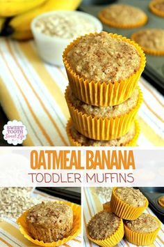 Banana Toddler Muffins Oatmeal Banana Toddler Muffins - easy to freeze and take out as needed. Perfect for the whole family, too!Oatmeal Banana Toddler Muffins - easy to freeze and take out as needed. Perfect for the whole family, too! Healthy Toddler Meals, Kids Meals, Banana Recipes Toddler, Healthy Toddler Muffins, Toddler Dinners, Homemade Toddler Snacks, Toddler Dinner Recipes, Healthy Toddler Lunches, Daycare Meals