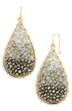 A stunning ombré lattice of beautifully faceted crystals lends sophisticated sparkle to elegant earrings framed with a golden teardrop.