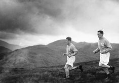 Jock Stein Celtic football player running up Ben Lomond with team mate John Bonnar (L) in 1954 during pre season training