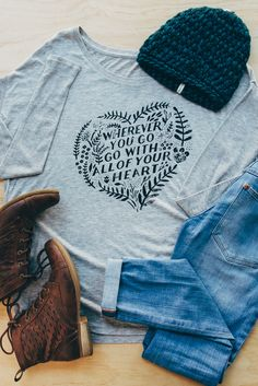 Cute Sevenly long sleeve tee + Krochet Kids intl. beanie & your favorite denims and boots - the next adventure can come! :)