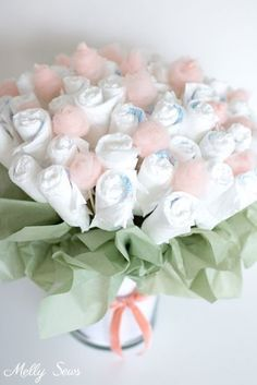 How to Make a Diaper Bouquet - What a Cute Alternative to a Diaper Cake - and it could be nursery decor while being used! Tutorial and video from Melly Sews # diaper cake How to Make a Diaper Bouquet - Melly Sews Regalo Baby Shower, Baby Shower Diapers, Baby Shower Fun, Boy Shower, Baby Shower Parties, Baby Shower Themes, Baby Shower Gifts, Baby Gifts, Shower Ideas