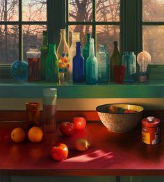"""Scott Prior, Bottles in Kitchen Window, 2015, 15 x 14"""" at William Baczek Fine Arts. #scottprior #art #oilpainting"""