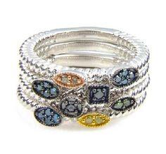 Multi Color Diamond Stack Rings in Sterling Silver.