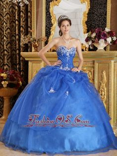Elegant Blue Quinceanera Dress Sweetheart Organza Appliques Ball Gown  http://www.fashionos.com    This flawless sweetheart neckline blue quinceanera dress is featured with the ruched bodice entrusted with fantastic embroidery and dotted beads. It has a lot of fullness in the bottom of the gown , which puffs the skirt out , the dress then looks full and bell-shaped.You will find the dress most suitable for your only quinceanera!