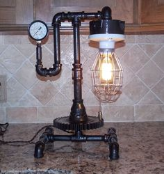 Steampunk Lamp Light Vintage Antique Industrial Machine Age Edison With Bulbs | Collectibles, Lamps, Lighting, Lamps: Electric | eBay!