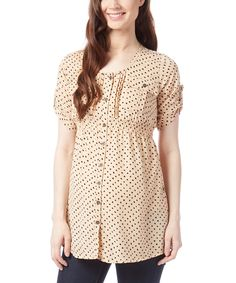 Love this Times 2 Tan & Black Polka Dot Maternity Button-Up Top by Times 2 on #zulily! #zulilyfinds