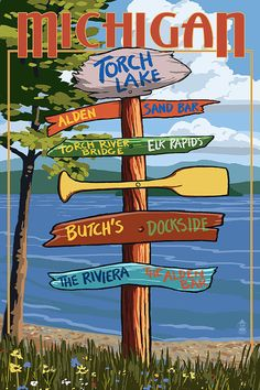 Torch Lake, Michigan - Destinations Sign (Number Two)- Lantern Press Artwork Giclee Art Print, Gallery Framed, Black Wood), Multi