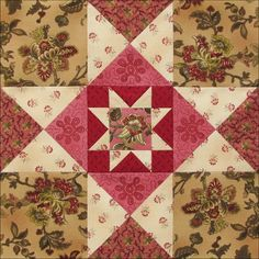 Civil War Quilts: Threads of Memory by Becky Brown Block 2 Mercer County Star The block's named for a refuge offering hope to free blacks and runaways in the and February 2014 Star Quilt Blocks, Star Quilts, Quilt Block Patterns, Pattern Blocks, Square Patterns, Old Quilts, Antique Quilts, Vintage Quilts, Baby Quilts