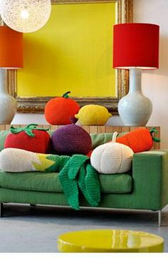 Anne-Claire Petit - Crochet: Animals, Toys, Baby Gifts, Fashion and Home Accessories, Hand Made Design Fruits En Crochet, Crochet Food, Crochet For Kids, Diy Crochet, Crochet Cushions, Crochet Pillow, Crochet Home Decor, Make Design, My New Room
