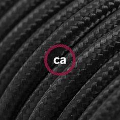 Rond flexibel strijkijzersnoer van viscose. RM04 - zwart