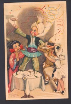 Mint.! Chiostri..carnival! Champagne Toast,costume Pierrot,geisha,deco Postcard 2 • $48.00