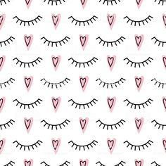 Abstract pattern with closed eyes and pink hearts. fashion design for textile, wallpaper, fabric etc. Eyelash Logo, Eyelash Curler, Eyelash Extensions, Eyelash Growth, Best False Eyelashes, Best Lashes, Natural Eyelashes, Lash Quotes, Lash Room