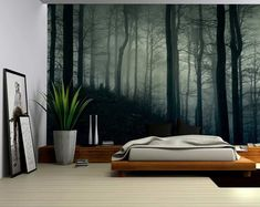 A Dark and Misty Forest Wall Mural Removable Stick - Murales Pared Exterior Bedroom Furniture, Bedroom Decor, Wall Decor, Woodsy Bedroom, Diy Wall, Bedroom Ideas, Forest Bedroom, Forest Mural, Forest Wallpaper