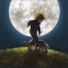"Jimmy Lawlor (Irish painter illustrator) ""By the light of the silvery moon"" Jimmy Lawlor, Irish Painters, Moon Dance, Midnight Sky, Moon Magic, Star Magic, Beautiful Moon, Art For Art Sake, Moon Art"