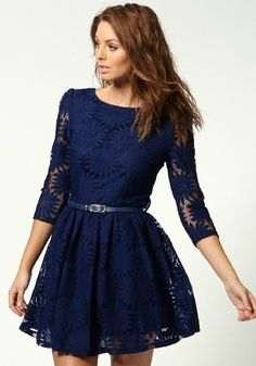 Sapphire Blue Heronsbill Print V-Back Neck Wrap Lace Dress