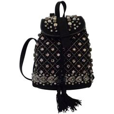 Alberta Ferretti Black with Swarovski Backpack