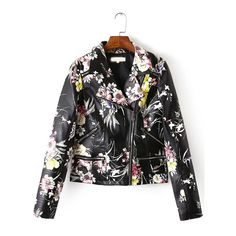 SheIn(sheinside) Multicolor Lapel Oblique Zipper Floral Jacket featuring polyvore women's fashion clothing outerwear jackets shein multi color sport jacket zipper jacket collar jacket multi colored jacket multi color jacket