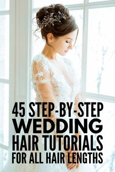 Whether you're looking for wedding hairstyles for short, medium length, or long hair, we've curated 45 gorgeous step by step DIY tutorials to inpsire you! You are in the right place about wedding hair Formal Hairstyles For Long Hair, Romantic Hairstyles, Down Hairstyles, Pretty Hairstyles, Hair Tutorials For Medium Hair, Medium Hair Styles, Curly Hair Styles, Short Wedding Hair, Wedding Updo
